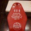 Vintage: PLACA HABITACIÓN MOTEL HOTEL HOSTAL Nº414. BURRARD MOTOR INN. VANCOUVER USA EEUU. Lote 138874194