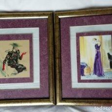 Vintage: 2 EXQUISITAS LÁMINAS FEMENINAS ENTRE 2 CRISTALES. Lote 139620034