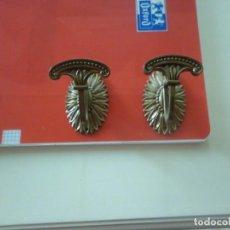 Vintage: 2 RECOGE CORTINAS EN METAL DORADO. Lote 140424210