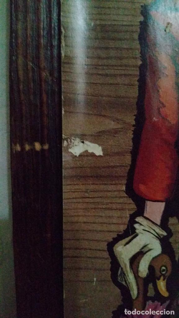 Vintage: CUADRO VINTAGE. LÁMINA DE PAYASO CON FLORES SOBRE TABLA CON CADENA. ILUSTRADO POR BENAGES 1971. - Foto 2 - 140871858