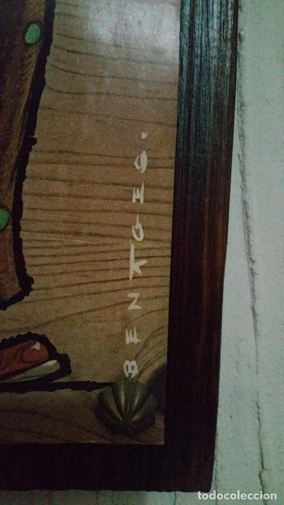 Vintage: CUADRO VINTAGE. LÁMINA DE PAYASO CON FLORES SOBRE TABLA CON CADENA. ILUSTRADO POR BENAGES 1971. - Foto 4 - 140871858