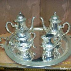 Vintage: BANDEJA, TETERAS, AZUCARERA Y LECHERA-PLATEADAS. Lote 141033950