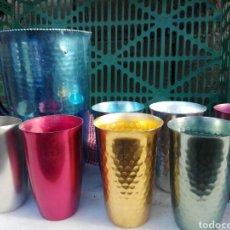 Vintage: JARRA ALUMINIO AZUL Y VASOS L!!!. Lote 141536564