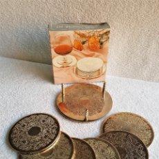 Vintage: LOTE 6 POSAVASOS BAÑADOS DE PLATA SILVER PLATED GRABADOS EN CAJA ORIGINAL - 10.CM DIAMETRO APROX. Lote 142268202