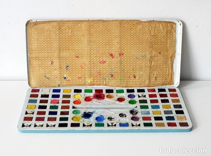 Vintage: Antigua caja de metal con pinturas de acuarelas Western Paint Box. Marca Page London Made in England - Foto 2 - 142473102