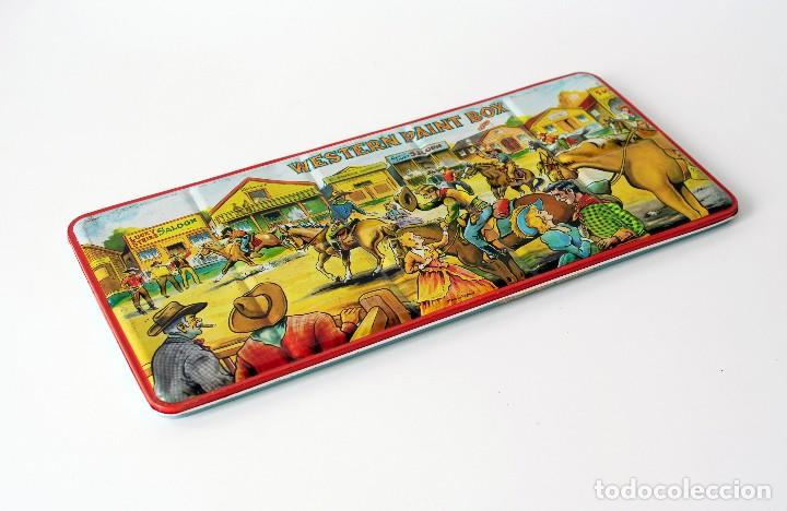Vintage: Antigua caja de metal con pinturas de acuarelas Western Paint Box. Marca Page London Made in England - Foto 3 - 142473102