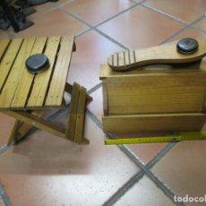 Vintage: CONJUNTO DE LIMPIA BOTAS - TABURETE Y CAJA UTILES, MADERA PINO, EXCELENTE, DE LOS 60'S + INFO 1S. Lote 145373406