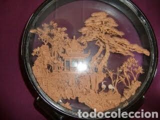 Vintage: Adorno de madera con paisaje en el centro. - Foto 5 - 145778164