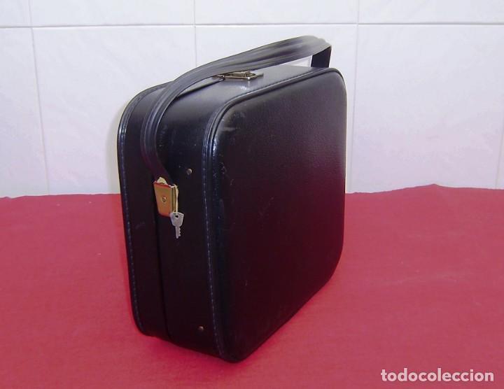 Vintage: Maleta maletin de fin de semana de viaje color negro.Con llave. - Foto 3 - 145849506