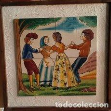 Vintage: ANTIGUO CUADRO DE AZULEJOS DE CERAMICA CATALANA PINTADADO A MANO -SARDANAS -. Lote 146323822