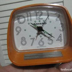 Vintage: RETRO RELOJ DESPERTADOR BAYARD QUARTZ NARANJA MADE IN FRANCE. Lote 147505734