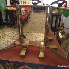 Vintage: ESPEJO TOCADOR, ART DECÓ, METAL DORADO, TRIPTICO. Lote 148413416