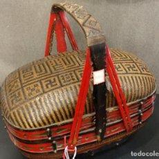 Vintage: CESTA CHINA S.XIX- MIMBRE Y LACA CHINA. Lote 149372778