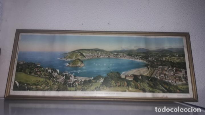 CUADRO VISTAS PANORÁMICAS DE SAN SEBASTIAN PANORAMA MONTE IGUELDO 60X23 FOTO GALARZA EASO 67 (Vintage - Varios)