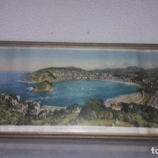 Vintage: CUADRO VISTAS PANORÁMICAS DE SAN SEBASTIAN PANORAMA MONTE IGUELDO 60X23 FOTO GALARZA EASO 67. Lote 149719566