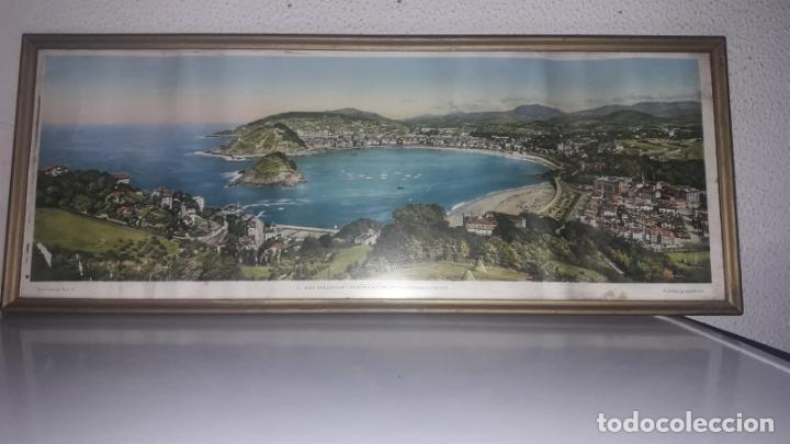 Vintage: Cuadro vistas panorámicas de San sebastian Panorama monte igueldo 60x23 Foto galarza easo 67 - Foto 2 - 149719566
