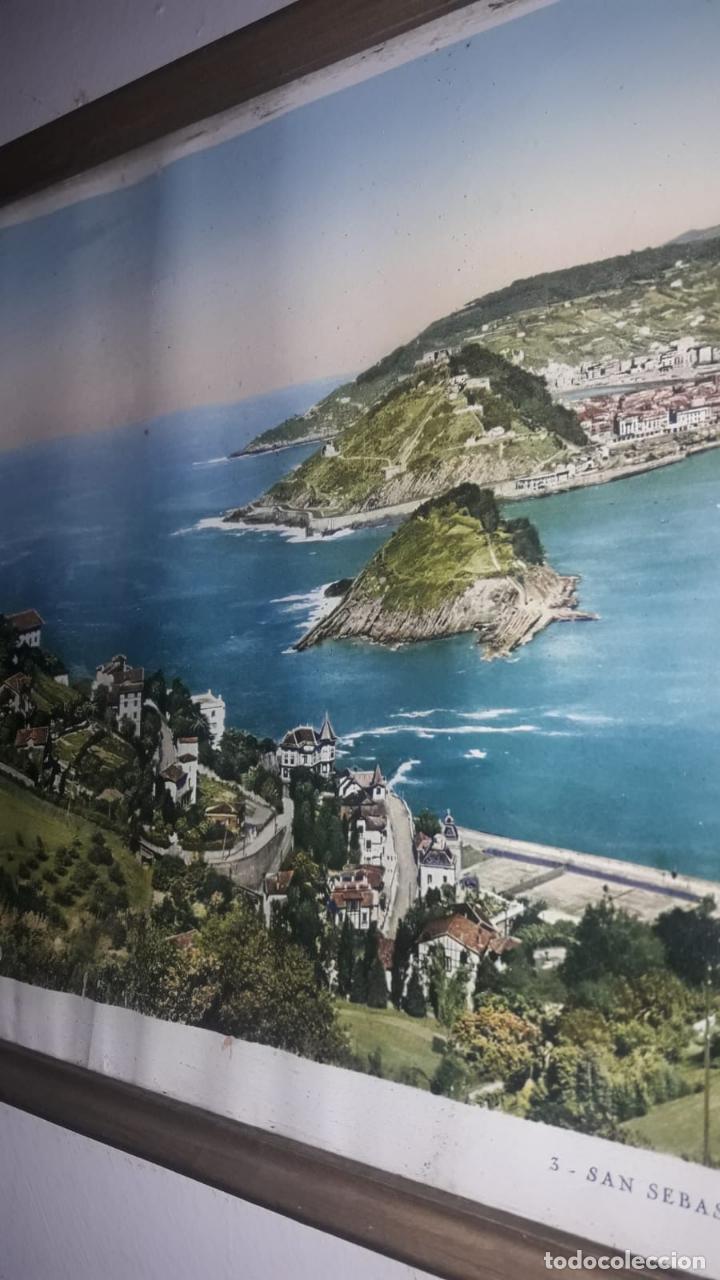 Vintage: Cuadro vistas panorámicas de San sebastian Panorama monte igueldo 60x23 Foto galarza easo 67 - Foto 4 - 149719566