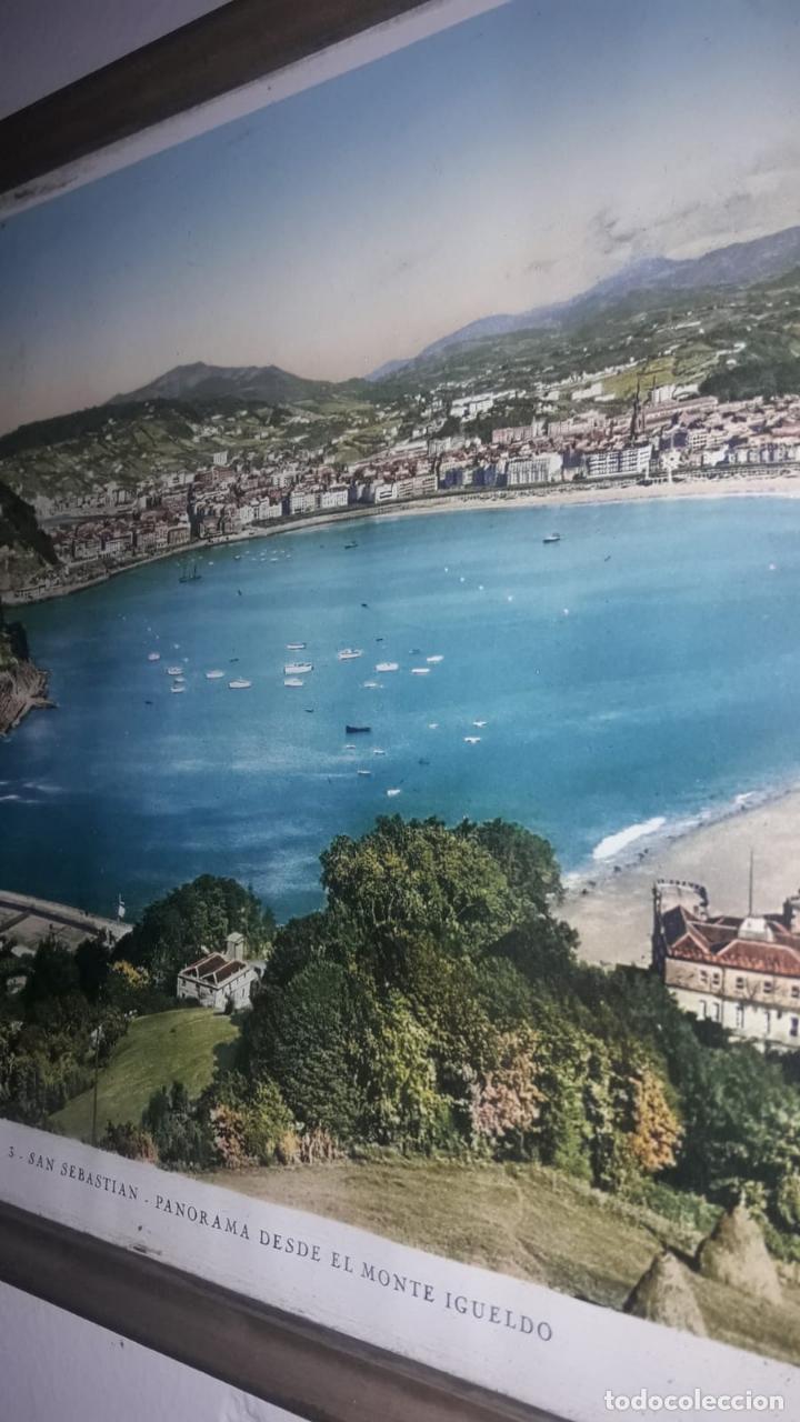 Vintage: Cuadro vistas panorámicas de San sebastian Panorama monte igueldo 60x23 Foto galarza easo 67 - Foto 5 - 149719566