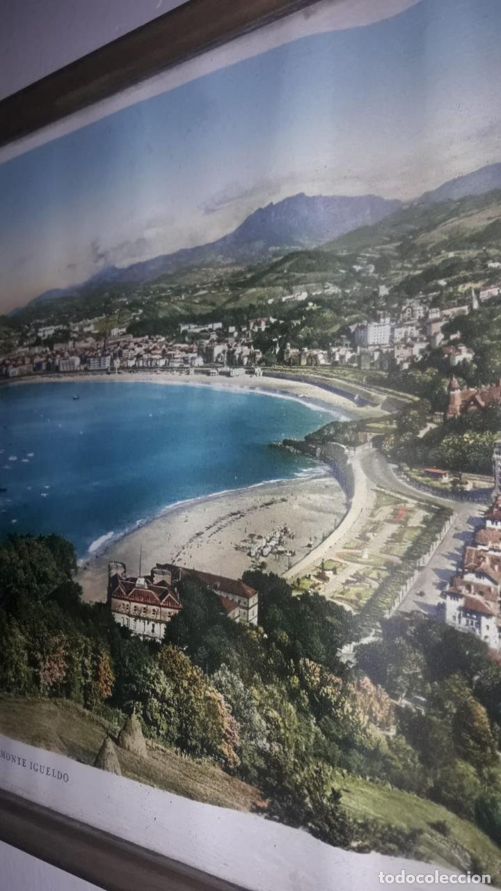 Vintage: Cuadro vistas panorámicas de San sebastian Panorama monte igueldo 60x23 Foto galarza easo 67 - Foto 6 - 149719566
