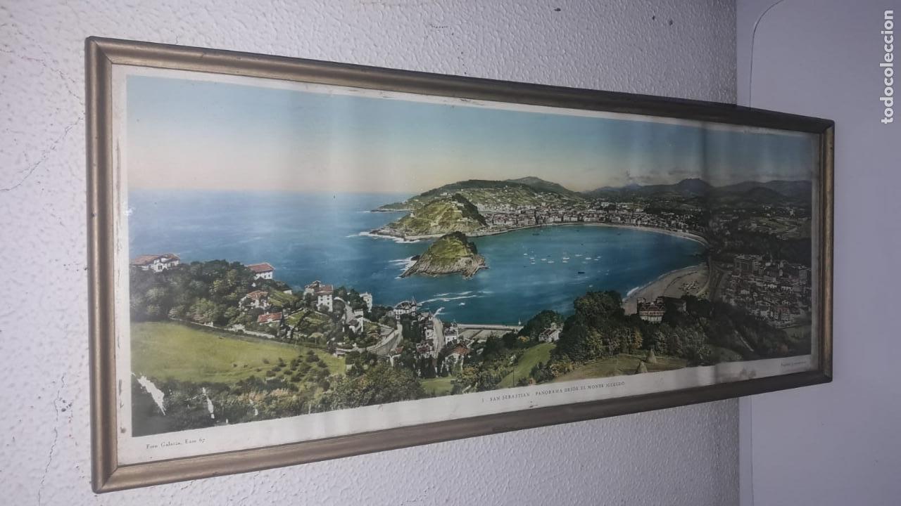 Vintage: Cuadro vistas panorámicas de San sebastian Panorama monte igueldo 60x23 Foto galarza easo 67 - Foto 8 - 149719566