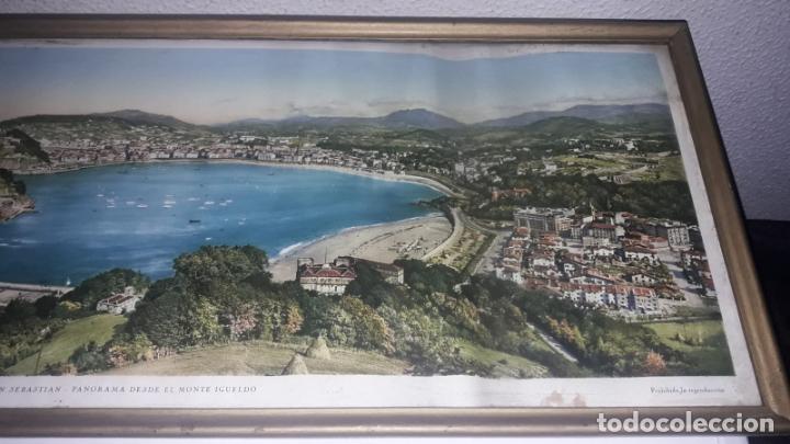 Vintage: Cuadro vistas panorámicas de San sebastian Panorama monte igueldo 60x23 Foto galarza easo 67 - Foto 11 - 149719566