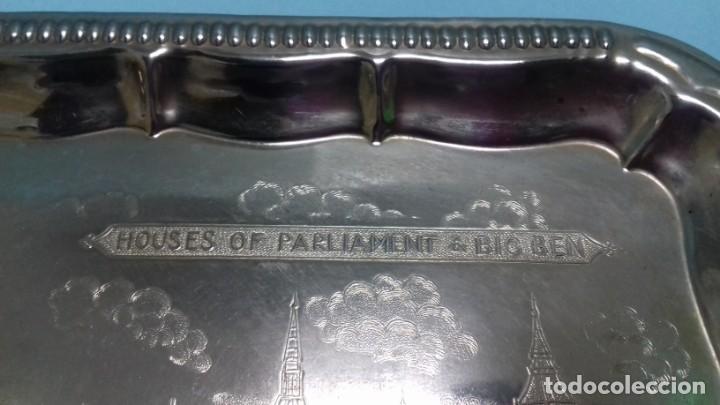 Vintage: Pequeña bandeja plateada Souvenir Londres Houses of Parliament & Big Ben, London. 20,5 x 15,5 cm. - Foto 3 - 151172490