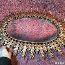 Vintage: ESPEJO SOL FORJA HOJAS DE ROBLE QUERCUS COBREADO VINTAGE RETRO 70'S ORO . GRANDE 77 X 58--REF-D. Lote 152207210