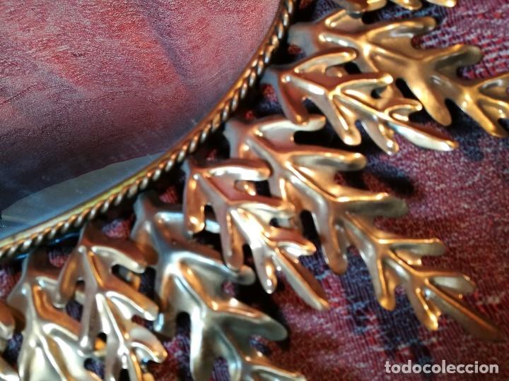 Vintage: espejo sol forja hojas de roble quercus Cobreado vintage retro 70s oro . grande 77 x 58--REF-D - Foto 5 - 152207210