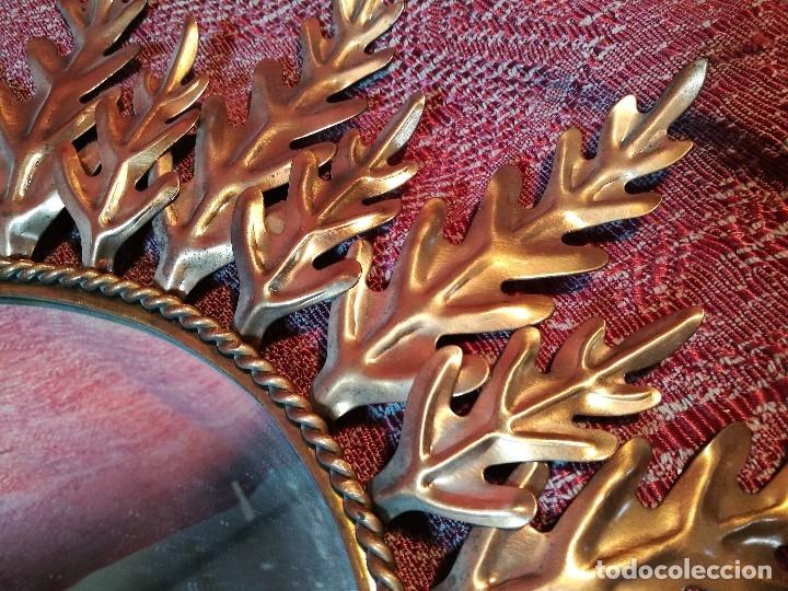 Vintage: espejo sol forja hojas de roble quercus Cobreado vintage retro 70s oro . grande 77 x 58--REF-D - Foto 6 - 152207210