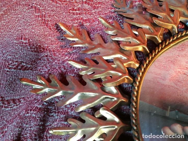 Vintage: espejo sol forja hojas de roble quercus Cobreado vintage retro 70s oro . grande 77 x 58--REF-D - Foto 10 - 152207210