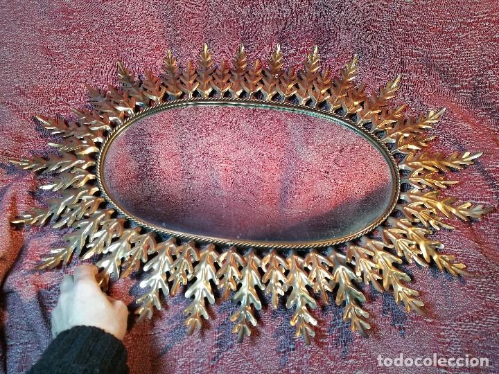 Vintage: espejo sol forja hojas de roble quercus Cobreado vintage retro 70s oro . grande 77 x 58--REF-D - Foto 13 - 152207210