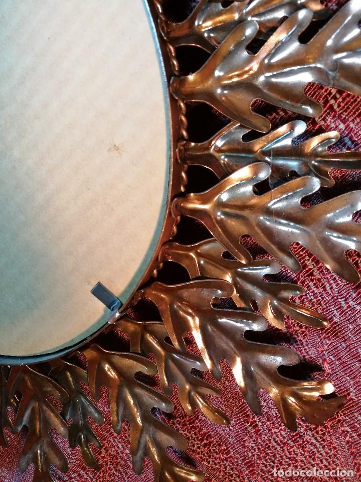 Vintage: espejo sol forja hojas de roble quercus Cobreado vintage retro 70s oro . grande 77 x 58--REF-D - Foto 15 - 152207210