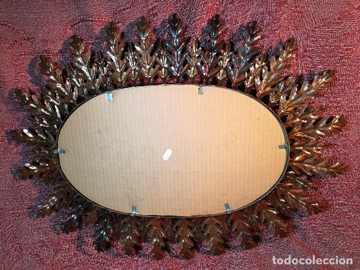 Vintage: espejo sol forja hojas de roble quercus Cobreado vintage retro 70s oro . grande 77 x 58--REF-D - Foto 14 - 152207210