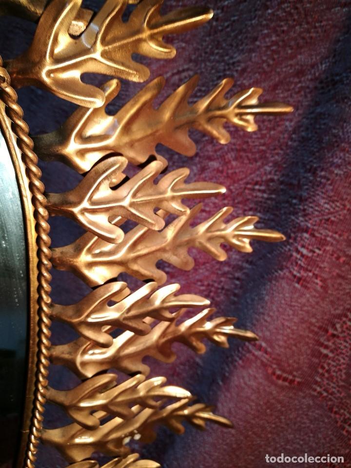 Vintage: espejo sol forja hojas de roble quercus Cobreado vintage retro 70s oro . grande 77 x 58--REF-D - Foto 22 - 152207210