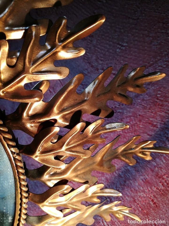 Vintage: espejo sol forja hojas de roble quercus Cobreado vintage retro 70s oro . grande 77 x 58--REF-D - Foto 23 - 152207210