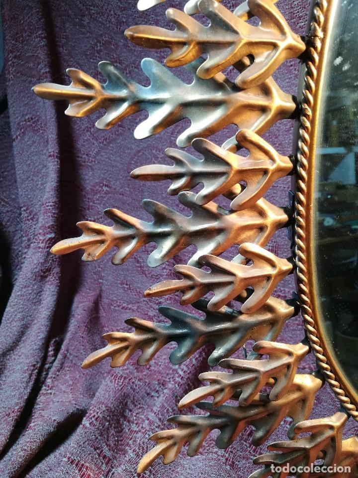 Vintage: espejo sol forja hojas de roble quercus Cobreado vintage retro 70s oro . grande 77 x 58--REF-D - Foto 24 - 152207210