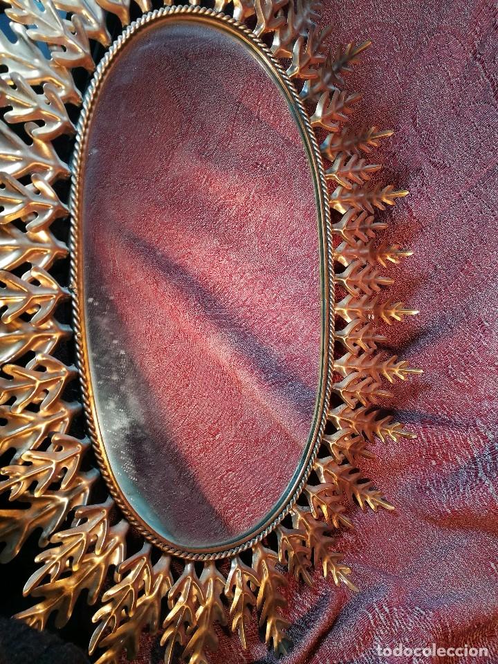 Vintage: espejo sol forja hojas de roble quercus Cobreado vintage retro 70s oro . grande 77 x 58--REF-D - Foto 26 - 152207210