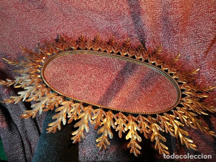 Vintage: espejo sol forja hojas de roble quercus Cobreado vintage retro 70s oro . grande 77 x 58--REF-D - Foto 28 - 152207210