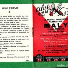 Vintage: ANTIGUA CARTILLA INSECTICIDA * MALY * EN LÁMINAS - . Lote 152443614
