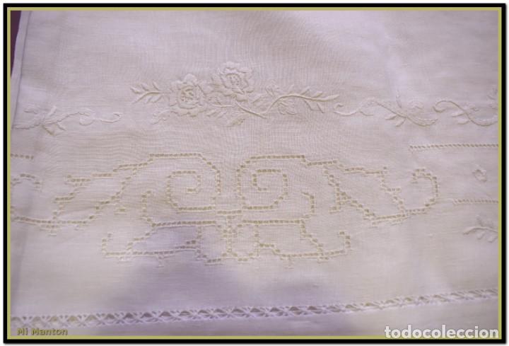 Vintage: Mantel para mesa de tres metros con bellos bordados y vainicas 360x180 cm con 12 servilletas - Foto 2 - 153891498