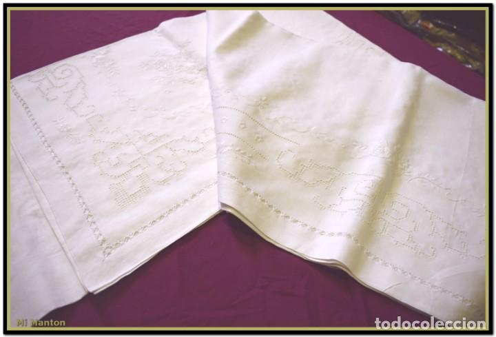 Vintage: Mantel para mesa de tres metros con bellos bordados y vainicas 360x180 cm con 12 servilletas - Foto 4 - 153891498