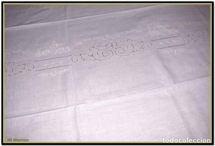 Vintage: Mantel para mesa de tres metros con bellos bordados y vainicas 360x180 cm con 12 servilletas - Foto 6 - 153891498