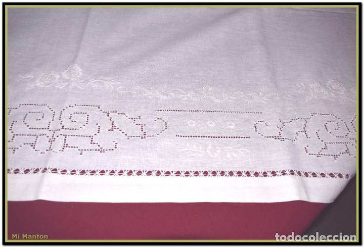 Vintage: Mantel para mesa de tres metros con bellos bordados y vainicas 360x180 cm con 12 servilletas - Foto 9 - 153891498