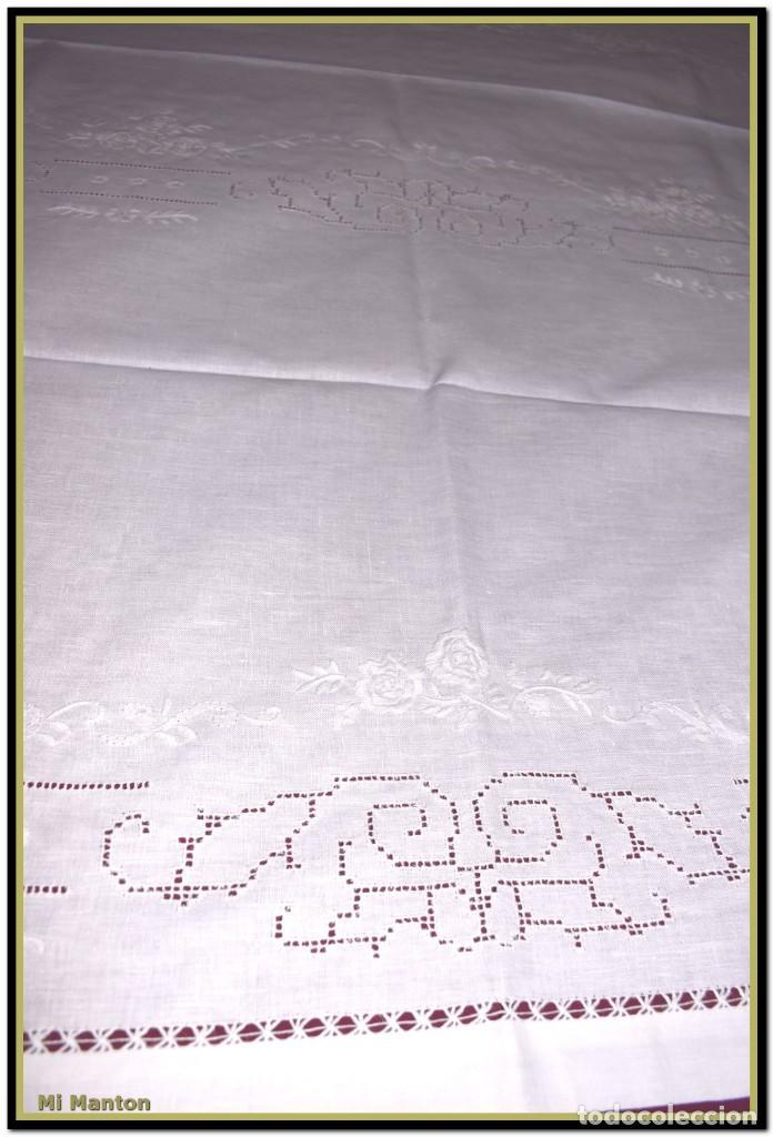 Vintage: Mantel para mesa de tres metros con bellos bordados y vainicas 360x180 cm con 12 servilletas - Foto 10 - 153891498