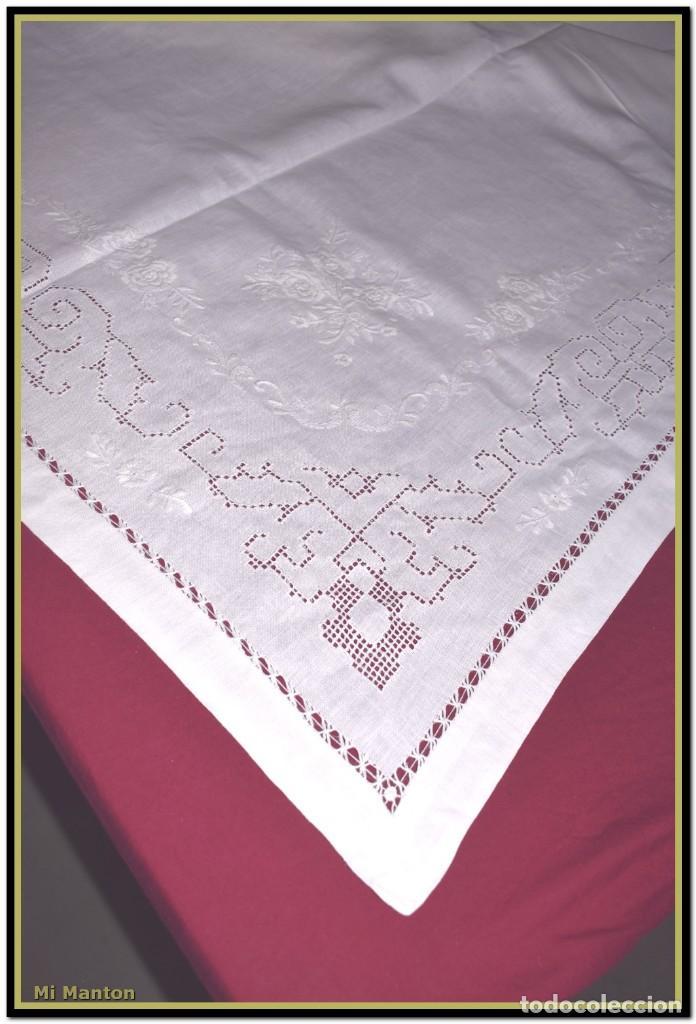 Vintage: Mantel para mesa de tres metros con bellos bordados y vainicas 360x180 cm con 12 servilletas - Foto 11 - 153891498