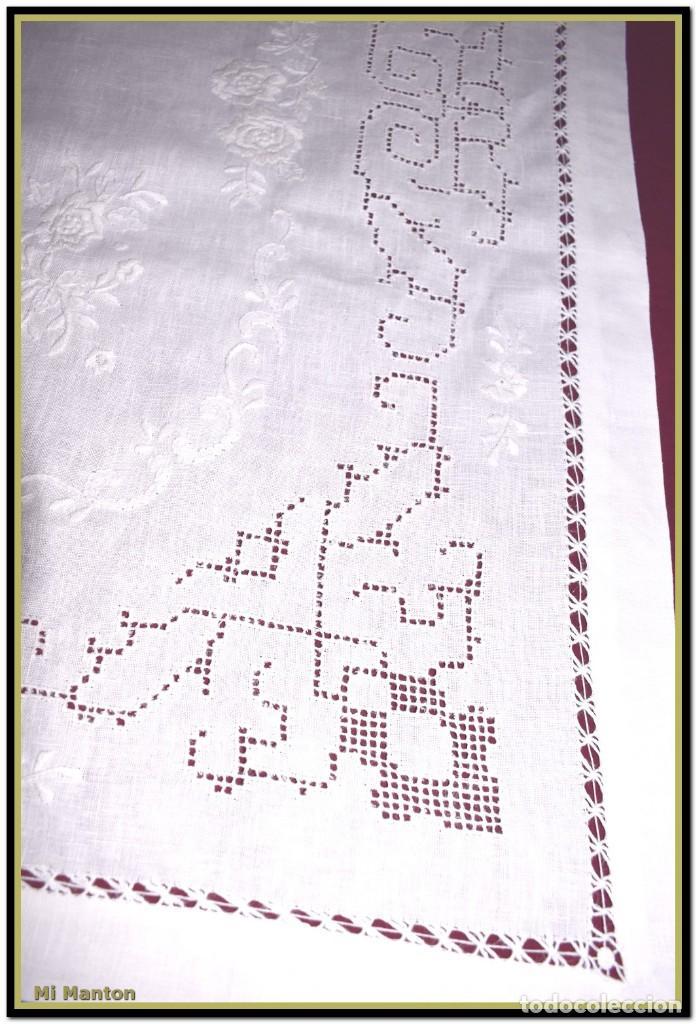 Vintage: Mantel para mesa de tres metros con bellos bordados y vainicas 360x180 cm con 12 servilletas - Foto 12 - 153891498