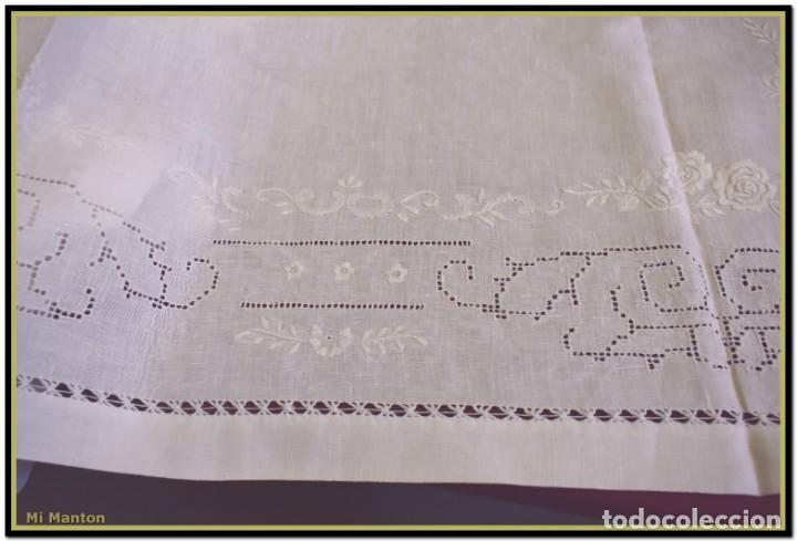 Vintage: Mantel para mesa de tres metros con bellos bordados y vainicas 360x180 cm con 12 servilletas - Foto 13 - 153891498