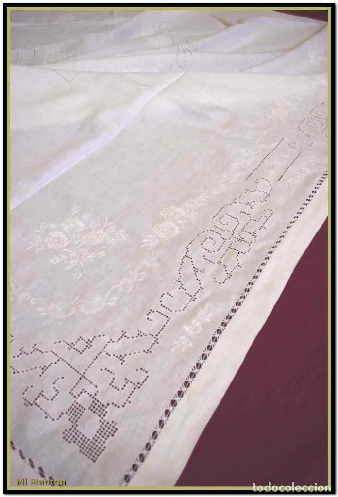 Vintage: Mantel para mesa de tres metros con bellos bordados y vainicas 360x180 cm con 12 servilletas - Foto 14 - 153891498