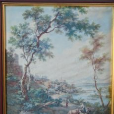 Vintage: CUADRO, PAISAJE, EN SEDA.. Lote 153936546