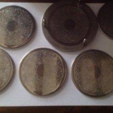 Vintage: JUEGO POSAVASOS 6 UNIDADES Y BASE DE METAL.. Lote 100542028